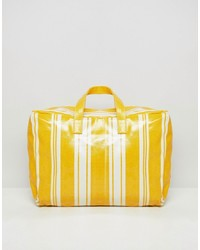 Mango Stripe Plastic Holdall In Yellow Multi Multi