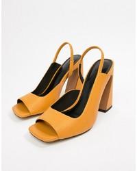 ASOS DESIGN Hinton Premium Leather Heeled Sandals Leather