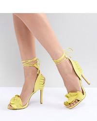 Qupid Ruffle Heeled Sandals