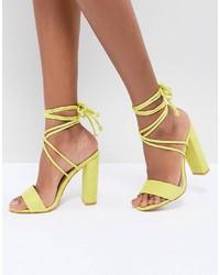 Public Desire Suzu Chartreuse Tie Up Block Heeled Sandals