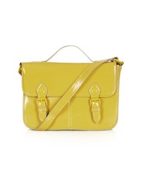 Topshop Double Buckle Satchel Yellow