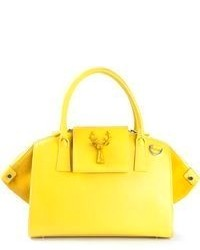 Yellow Leather Tote Bag