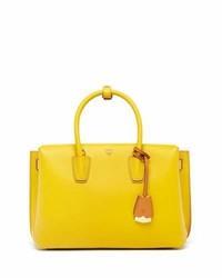 MCM Milla Medium Leather Tote Bag Sahara Yellow