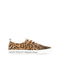 Yellow Leopard Leather Low Top Sneakers