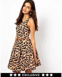 Yellow Leopard Skater Dress