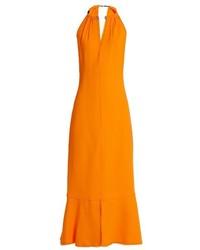 Proenza Schouler Choker Neck Crepe Midi Dress