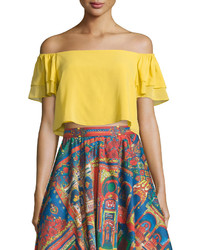 Alice + Olivia Whit Cropped Off The Shoulder Top Yellow