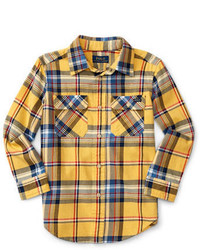 Yellow Plaid Long Sleeve Shirt