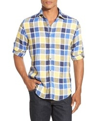 Shaped fit plaid sport shirt medium 599772
