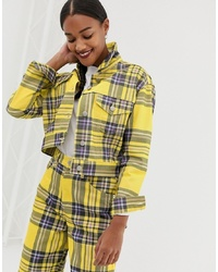 ASOS DESIGN Co Ord Jacket In Yellow Check