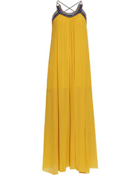 Roberto Cavalli Pleated Cross Back Silk Georgette Dress