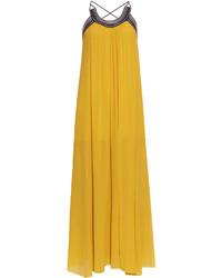 Roberto Cavalli Pleated Cross Back Silk Georgette Dress
