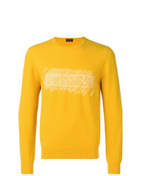 Yellow Print Crew-neck Sweater