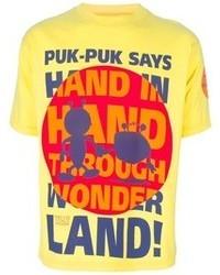 Yellow Print Crew-neck T-shirt