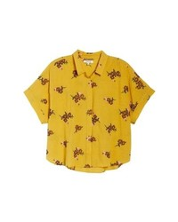 Yellow Print Short Sleeve Button Down Shirt