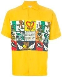 Yellow Print Short Sleeve Shirt