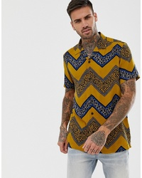 ASOS DESIGN Regular Fit Shirt With Chevron Leopard Print Stripe