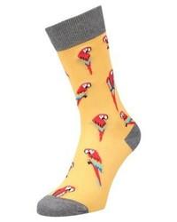 Jimmy Lion Parrots Socks Yellow