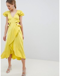 ASOS DESIGN Ruffle Midi Dress In Rippled Satin With Cut Out Back