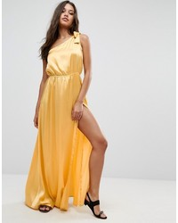 Yellow Satin Maxi Dress