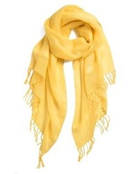 Halogen Linen Blend Scarf Yellow Primrose One Size One Size