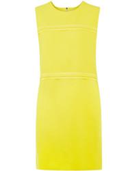 Victoria Victoria Beckham Yellow Wool Panel Mini Dress