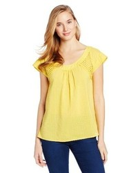 Yellow Short Sleeve Blouse
