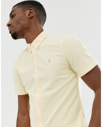 Farah Brewer Slim Fit Short Sleeve Oxford Shirt In Yellow