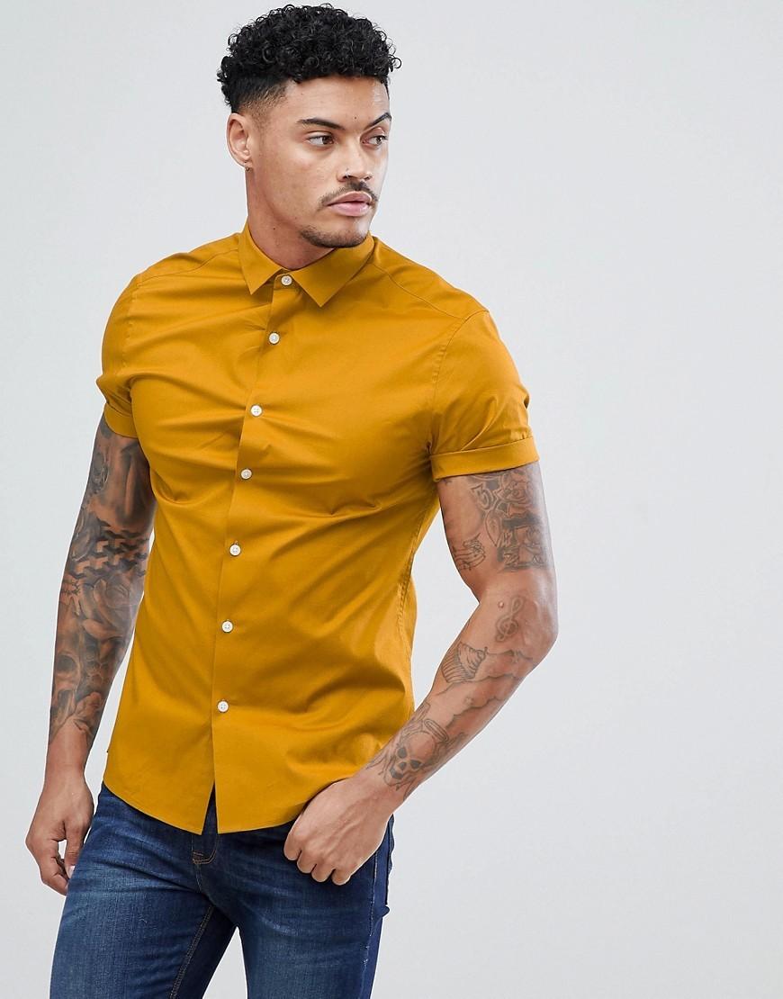50faebc58 ... ASOS DESIGN Skinny Shirt In Mustard With Short Sleeves