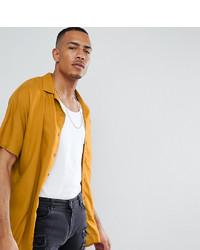 ASOS DESIGN Tall Oversized Viscose Batwing Sleeve Shirt In Mustard