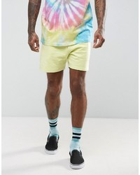Asos Festival Jersey Shorts In Yellow