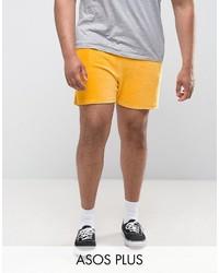 Asos Plus Shorts In Yellow Velour
