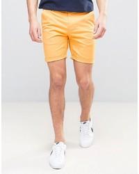 Asos Slim Chino Shorts In Bright Yellow