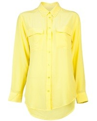 Yellow Silk Button Down Blouse