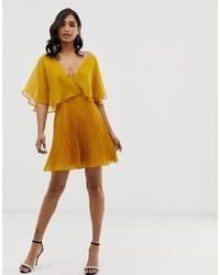 ASOS DESIGN Flutter Sleeve Mini Dress With Pleat Skirt