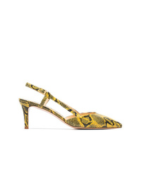 Yellow Snake Leather Pumps