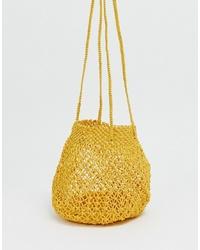 Mango Braided Shoulder Bag In Yellow