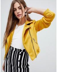 Yellow Suede Biker Jacket