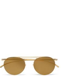 Maison Margiela Aviator Style Gold Tone Sunglasses