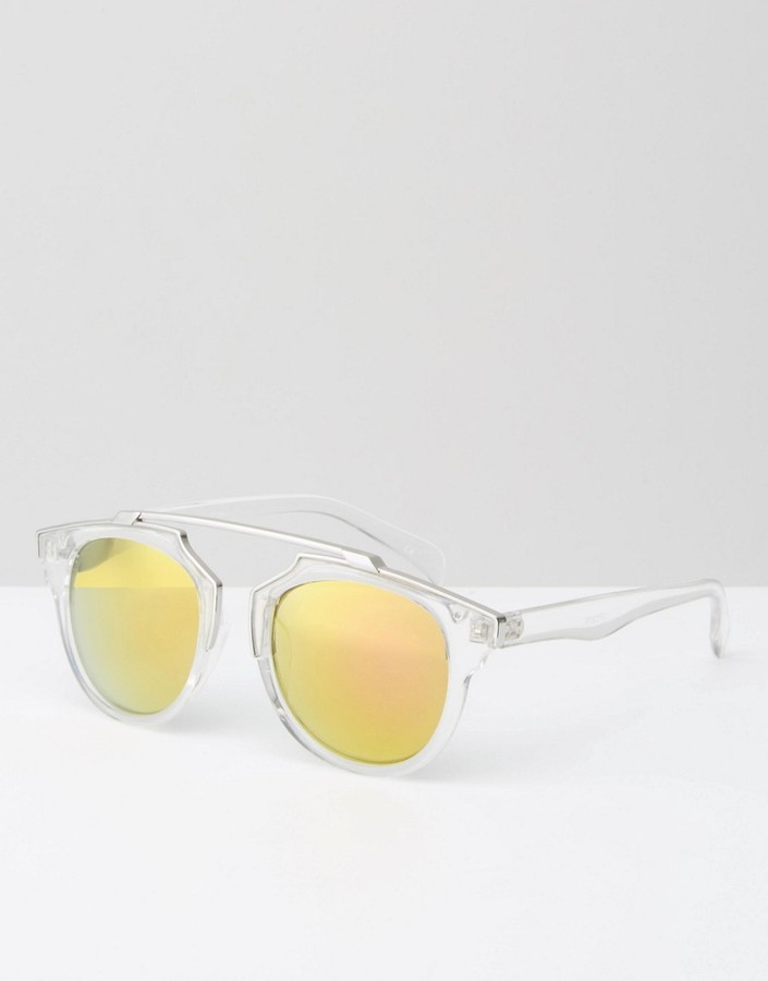 Jeepers Peepers Bridgeless Sunglasses In Clear Frame