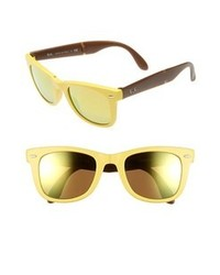 Ray-Ban Folding Wayfarer 50mm Sunglasses Matte Yellow One Size