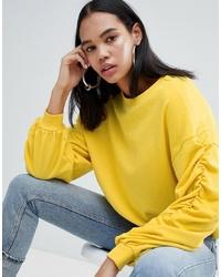 Weekday Gathered Sleeve Sweatshirt In Yellow Melange