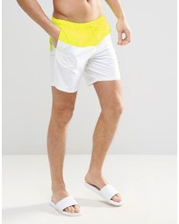 Asos Brand Mid Length Swim Shorts With Neon Panel