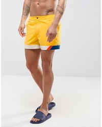 Asos Swim Shorts In Yellow With Cut And Sew Detail In Short Length