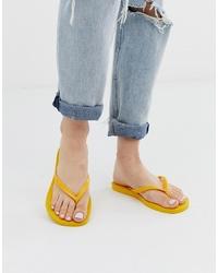 Havaianas Slim Flip Flops In Bright Yellow