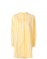 Yellow Vertical Striped Button Down Blouse