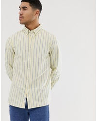 Pull&Bear Oxford Shirt In Regular Fit In Yellow