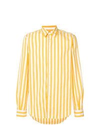 Yellow Vertical Striped Long Sleeve Shirt