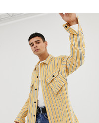 Collusion Utility Pocket Shirt In Bushed Twill Stripe