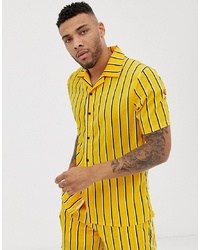 Liquor N Poker Co Ord Revere Shirt In Mustard With Stripe